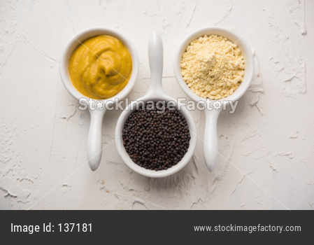 Rai or raw Mustard with sauce, powder and oil
