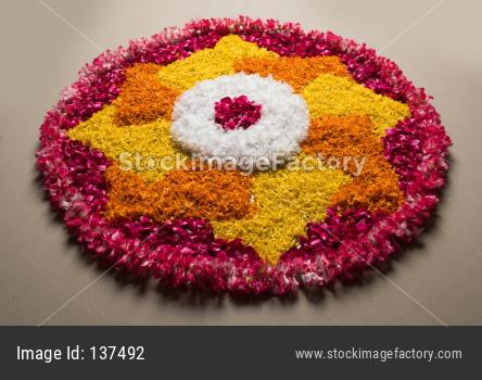 Flower rangoli for festival