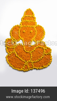 Ganapati or Ganesha shape flower Rangoli