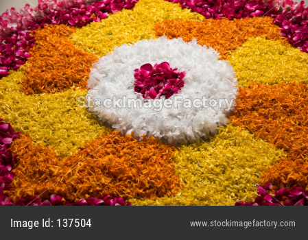 Flower rangoli for festival