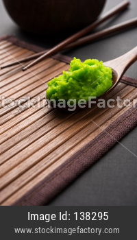 Green wasabi sauce or paste in bowl