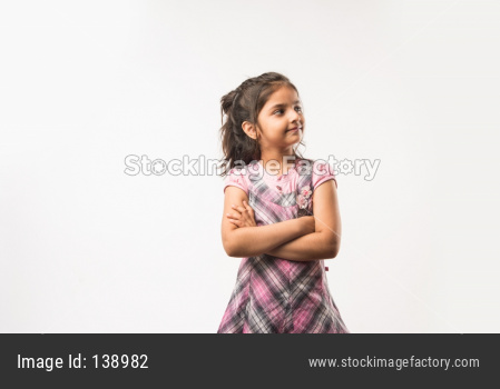 Portrait of Cute little girl isolated over white background