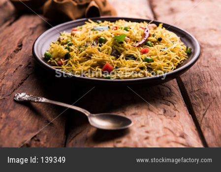 Spicy semiya uppma or upma served in plate. selective focus