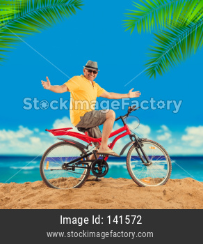 senior man riding on bicycle