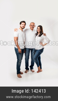 young kids with old age father standing over white background