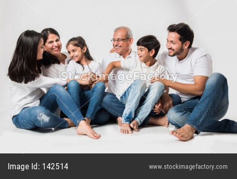 family of 6 sitting over white background