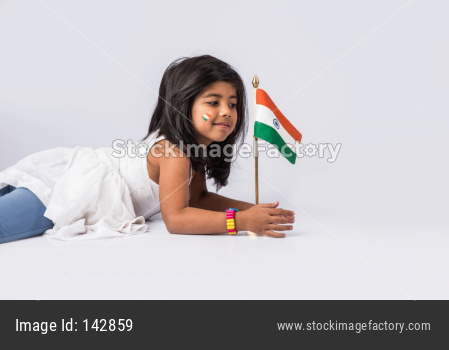 Cute Girl holding Indian flag or tricolour