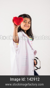 Small girl in doctor cloth with stethoscope