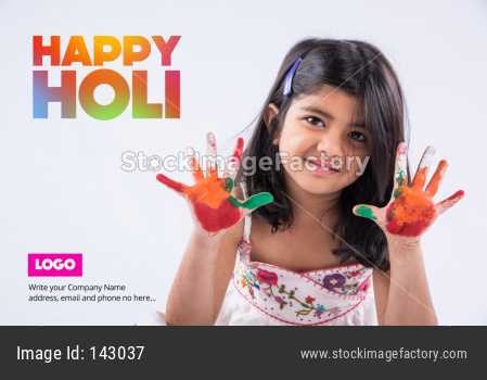 Happy Holi Greeting card showing cute little girl with hands painted