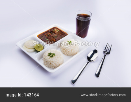 Fish curry with plain Rice