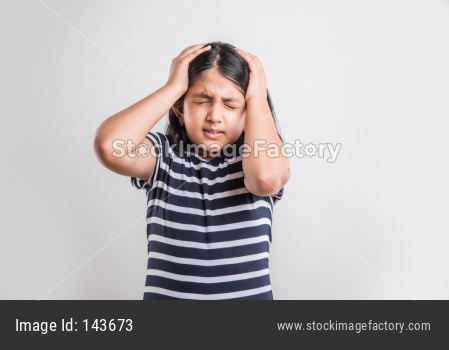 Cute little girl having headache or migraine
