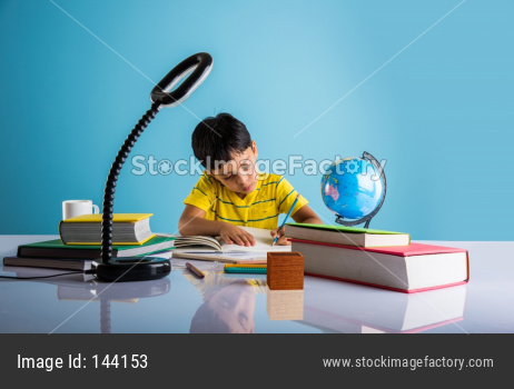Indian school boy/kid studying at home with books