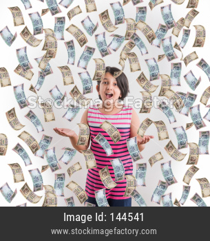 Indian Money falling over small girl