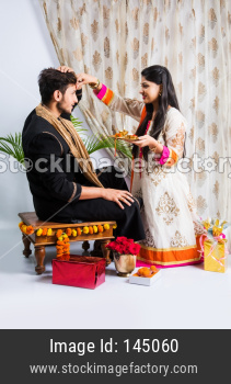 Indian young Brother and sister together Rakshabandhan Or Rakhi festival
