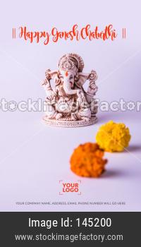 Happy Ganesh Chaturthi greeting card using photograph of Lord Ganapati Idol