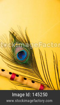 peacock feather and bamboo flute over colourful background
