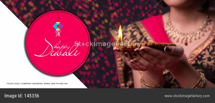 Girl Holding Diwali Diya