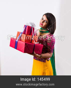 Girl / women holding gift boxes