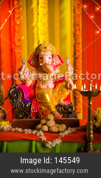 A Beautiful ganesha or Ganpati clay statue/Idol