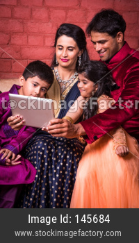 Indian Family celebrating Diwali festival