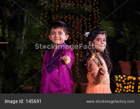 kids celebrating diwali or birthday