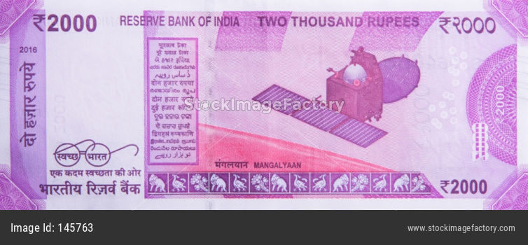 Indian New currency note of rupees 2000 value