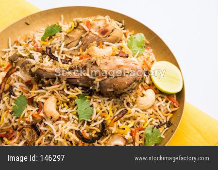 Chicken Biryani showing leg piece