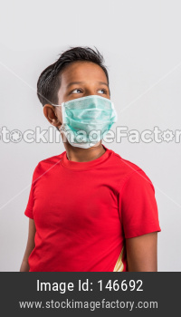 Small girl with medical health mask