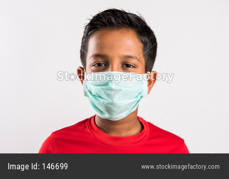 Small boy / kid with medical health mask