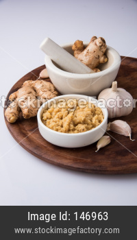 Ginger garlic paste or puree Also known as Lahsun Adrak mixture, selective focus