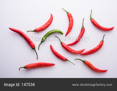 Red / Green hot chillies / mirchi