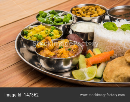 Indian Food Platter or Hindu vegetarian Thali