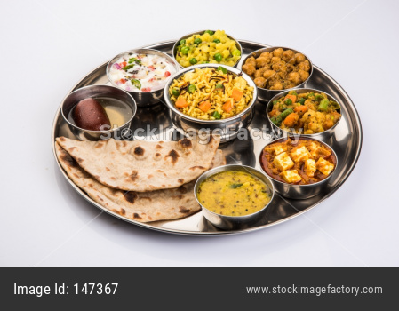 Indian Food Platter or Hindu vegetarian Thali