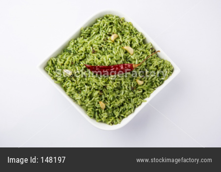 spinach Rice or Palak Pulav
