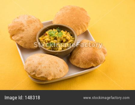 Puri Bhaji or Poori with aloo sabzi