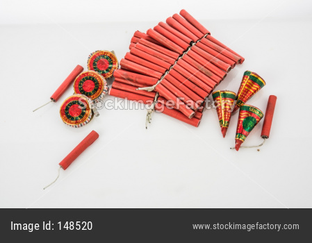 Diwali firecrackers, isolated over white background