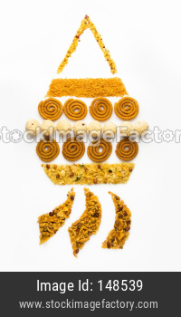 Creative diwali greeting card concept showing lantern or akash kandil using food / snack