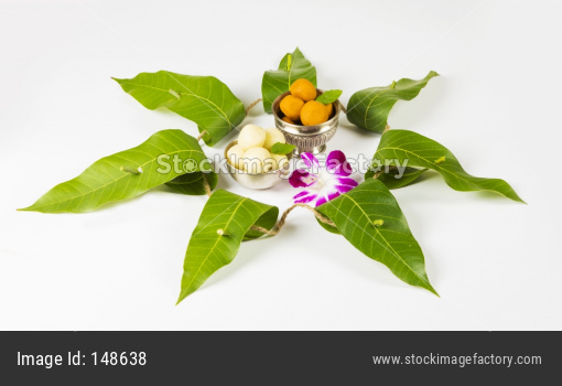 Garland or Toran using Mango leaves