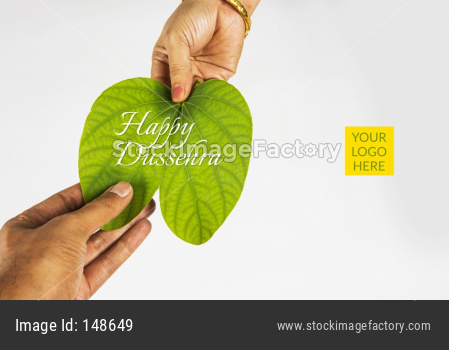 Happy Dussehra greeting card using apta  / Bauhinia racemosa / Bidi leaf