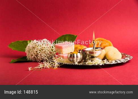 puja thali with sweets