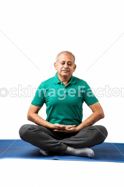 Senior Indian Man Doing Yoga Or Meditation Photo 0000149318 Stockimagefactory