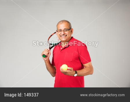 Senior indian man playing sports
