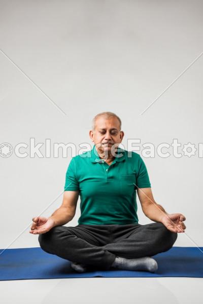 Senior Indian Man Doing Yoga Or Meditation Photo 0000149342 Stockimagefactory