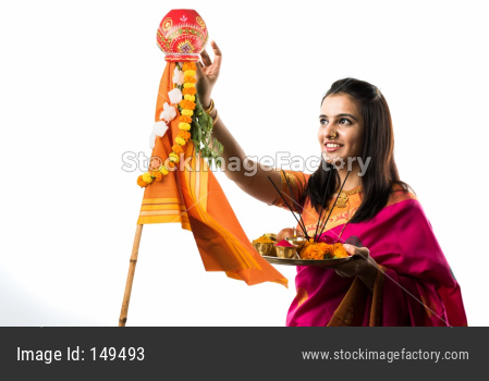 Pretty Women celebrating Gudi Padwa with puja/pooja thali
