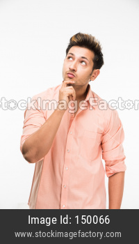 Man/boy thinking while standing isolated over white background