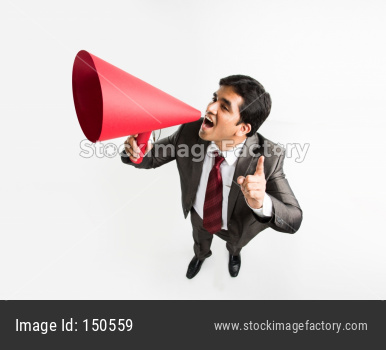 Indian young businessman announcing in paper speaker