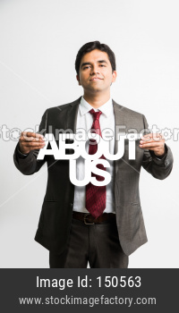 Indian young businessman holding about us cutout