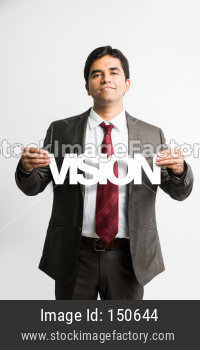 Indian young businessman holding Vision cutout
