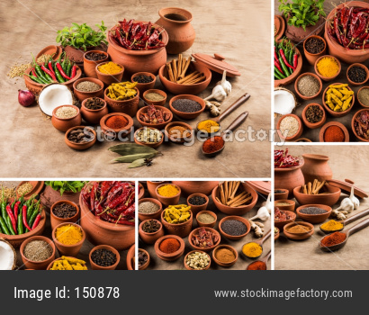 collage of Indian essential spices in terracotta pots arranged over textured background, selective focus