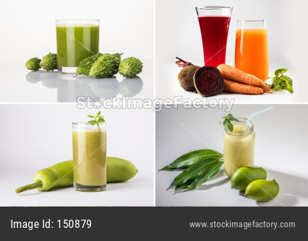 collage of health drinks like karela, lauki, beatroot, carrot juice and kairi or kaccha aam panha,  isolated over white backgrou